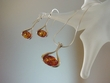 Modern Honey Baltic Amber  Sterling Silver Necklace Set