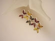 Multicolor Baltic Amber Butterfly Sterling PIN / PENDANT Necklace