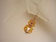 Honey Baltic Amber Sterling Silver Viola Brooch