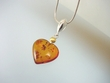 Honey Baltic Amber Heart  with  Sterling Silver & Vermeil Necklace