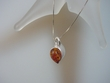 Contemporary Baltic Amber  & Sterling Silver Heart  Necklace