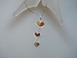 Multicolor  Baltic Amber  Sterling Silver Heart  Necklace