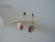 Multicolor  Baltic  Amber  Sterling  Silver Earrings