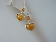 Honey Baltic Amber Heart  Sterling Silver Earrings