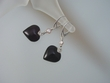 Dark Cherry Baltic  Amber Hearts & Pearl Sterling Silver Earrings