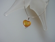 Honey Baltic Amber Heart  & Sterling Silver Pendant Necklace