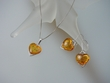 Honey Baltic Amber Hearts Sterling Silver Necklace Set