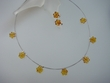 Honey Baltic Amber Flower  Necklace & Post  Earrings Set