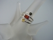 Multicolor Baltic Amber & Sterling Silver  Geometric Ring
