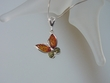 Multicolor Baltic  Amber Butterfly Sterling Silver Pendant Necklace