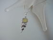 Citrine Baltic Amber Sterling Silver Sunflower Pendant Necklace