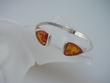 Honey Baltic Amber  Sterling Silver Cuff  Bracelet