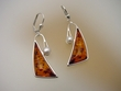 Baltic Amber & Freshwater Pearl  Sterling Silver Earrings