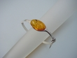 Honey Baltic  Amber Large Oval Sterling Silver Bracelet