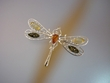 Multi-coloured  Baltic Amber Dragonfly Sterling Brooch