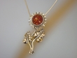 Sterling Silver Sunflower & Honey Amber Pin/Pendant Necklace