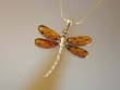Dragonfly Honey Amber Sterling  Silver Pendant Necklace