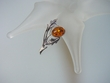 Honey Baltic Amber Sterling Silver Pin