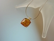 Classic Honey  Amber  Sterling Silver Pendant Necklace