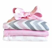 New Arrivals Peace Love and Pink Burp Cloth Set