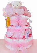 Sleepy Bear 3 Tier Diaper Cake-Girl