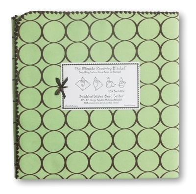 SwaddleDesigns Ultimate Receiving Blanket - Lime w/ Brown Mod Circles