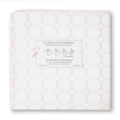 SwaddleDesigns -Ultimate Receiving Blanket  Pastel Pink Mod Circles on White