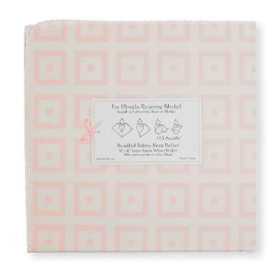 SwaddleDesigns - Ultimate Receiving Blanket - with Pastel Pink Mod Squares