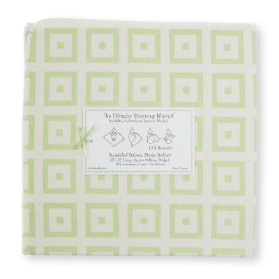 SwaddleDesigns - Ultimate Receiving Blanket  with Pastel Kiwi Mod Squares