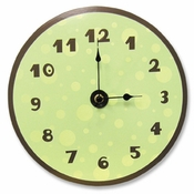 Sage & Brown Dot Wall Clock