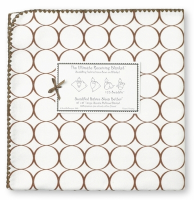 SwaddleDesigns Ultimate Receiving Blanket Chocolate Mod Circles on White