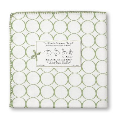 SwaddleDesigns Ultimate Receiving Blanket Sage Mod Circles on White