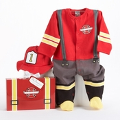 """Big Dreamzzz"" Baby Firefighter Two-Piece Layette Set in Firefighter-themed Gift Box"