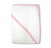 Trend LabTerry Hooded Towel w/Pink Gingham Trim