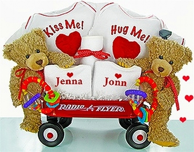 Personalized Double the Love Twins Radio Flyer Wagon