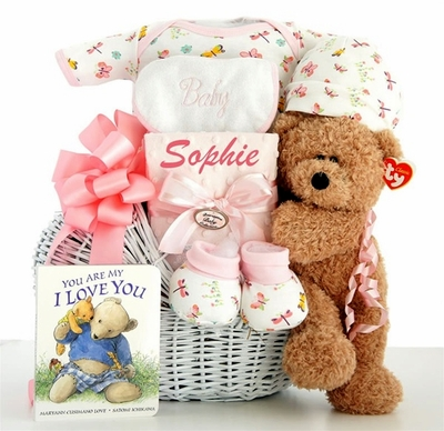 """Little Miracle""  Baby Girl Gift Basket"