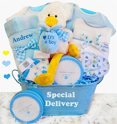"""A Special Delivery"""" Baby Boy Gift Basket"""