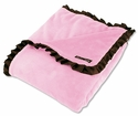 Pink Velour w/Brown Satin RuffleTrim