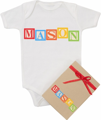 "Organic Cotton Personalized Onesie ""Baby Blocks""  Boy"