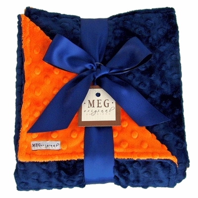 Meg Original Navy Blue & Orange Minky Dot Blanket