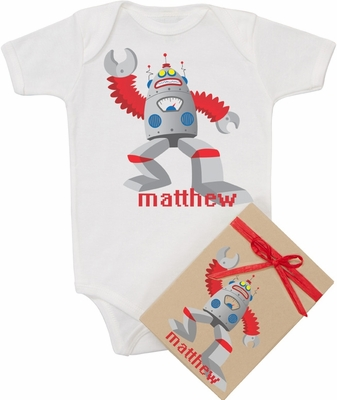 "Organic Cotton Personalized Onesie ""Crazy Robot"""