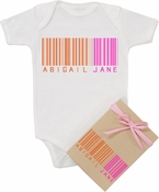 "Organic Cotton Personalized Onesie ""Bar-Code""  Orange"