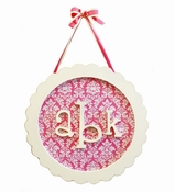 New Arrivals Round Scalloped Monogram Plaque