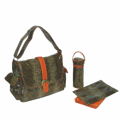 Laminated Buckle Bag - Leopard Orange