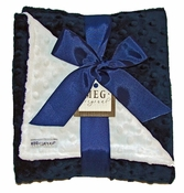 Meg Original Navy Blue & White Minky Blanket