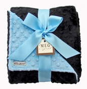 Meg Original Baby Blue & Black Minky Blanket