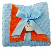 Meg Original Orange & Baby Blue Minky Dot Blanket