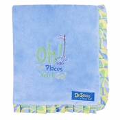 Trend Lab Dr. Seuss Oh, the Places You'll Go! Blue Ruffle Blanket