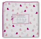 SwaddleDesigns - Ultimate Receiving Blanket - Very Berry, Pink Little Chickies with Very Berry Trim