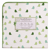 SwaddleDesigns - Ultimate Receiving Blanket - Pure Green, Turquoise Little Chickies with Pure Green Trim